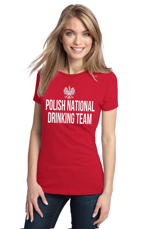 Polish national drinking team adult ladies 39 t shirt funny for Polish t shirts online