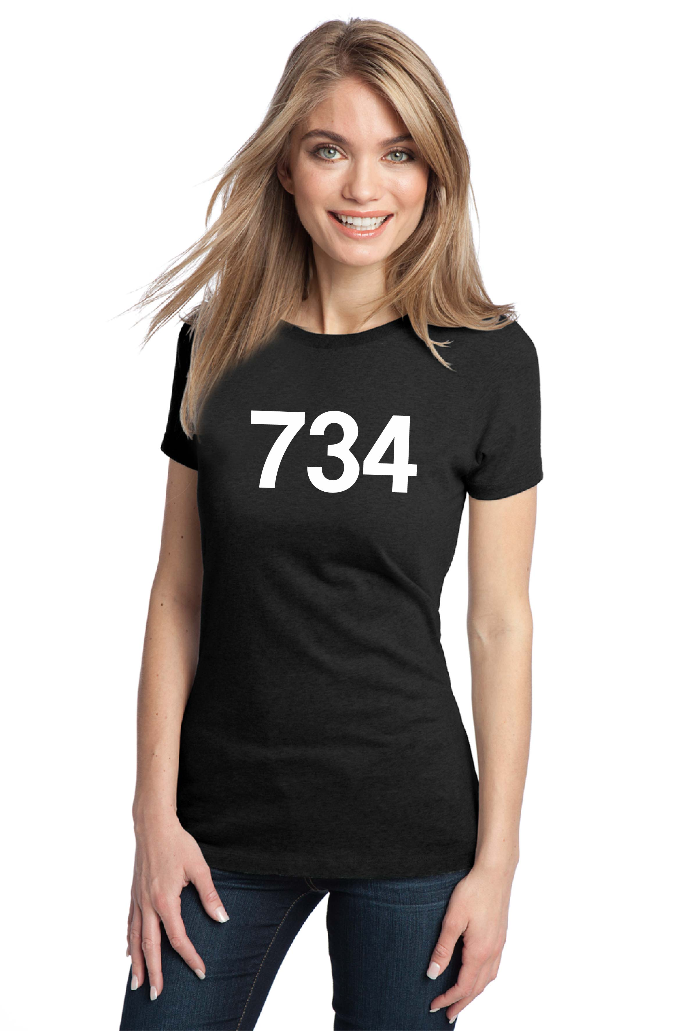 I have no idea why she is wearing a shirt that say 734 but hey, who is to  argue.