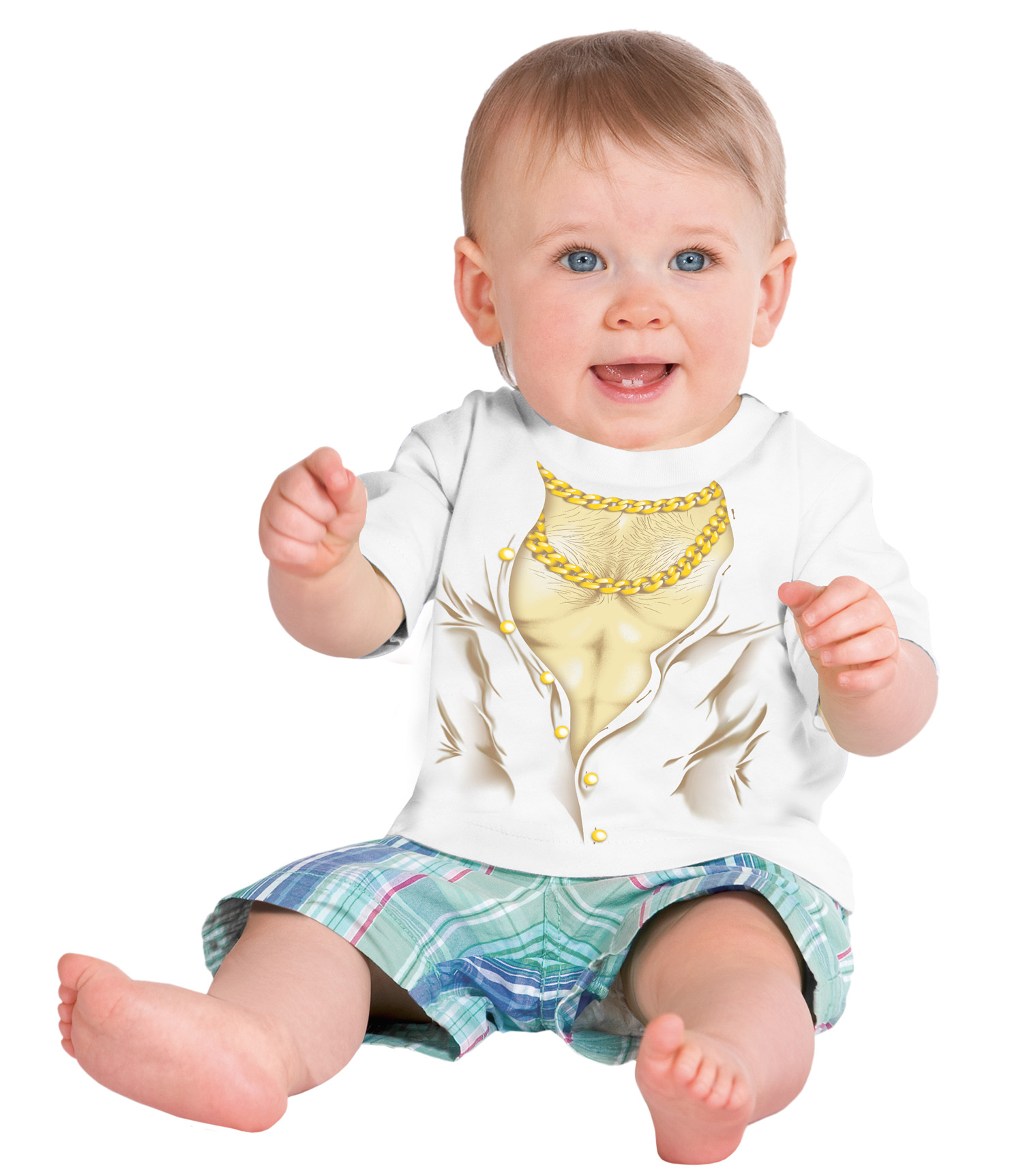 Little boys 39 muscle man funny chest hair gold chains for Toddler t shirt printing